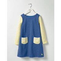 Stripy Jersey Dress Washed Bluebell Blue Girls Boden, Blue