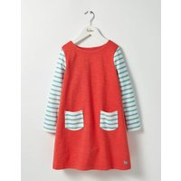 Stripy Jersey Dress Red Girls Boden, Red