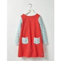 Stripy Jersey Dress Jam Red Girls Boden, Red
