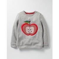Cosy Boucl Sweatshirt Grey Marl Apple Girls Boden, Grey