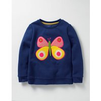 Cosy Boucl Sweatshirt Navy Girls Boden, Navy