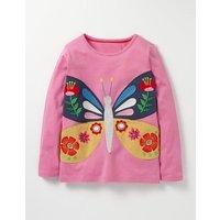 Felt Appliqu T-shirt Plum Blossom Pink Butterfly Girls Boden, Pink