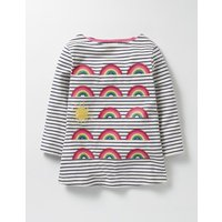 Odd One Out T-shirt School Navy/Ecru Rainbows Girls Boden, Navy