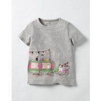 Patchwork Appliqué T-shirt Grey Girls Boden, Grey