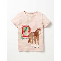 Patchwork Appliqué T-shirt Pink Girls Boden, Pink