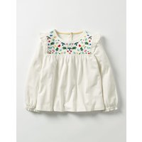 Pretty Embroidered Top Ivory Girls Boden, Ivory