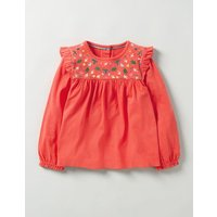 Pretty Embroidered Top Red Girls Boden, Red