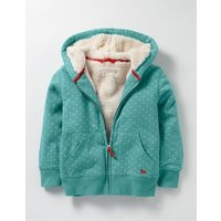 Printed Shaggy-lined Hoodie Blue Girls Boden, Blue