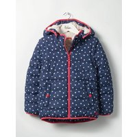 Cosy Two-in-one Padded Jacket School Navy Stars Girls Boden, Navy