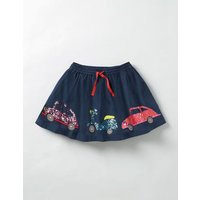 Adventure Sequin Skirt School Navy Sequin Cars Girls Boden, Navy
