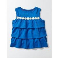 Pretty Ruffle Top Blue Girls Boden, Blue