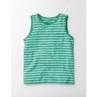 Stripy Holiday Vest Soft Jade/Ivory Stripe Girls Boden, Green
