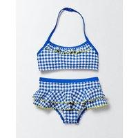 Pretty Ruffle Bikini Skipper/Ivory Gingham Girls Boden, Blue