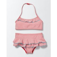 Pretty Ruffle Bikini Raspberry/Ivory Seersucker Girls Boden, Red