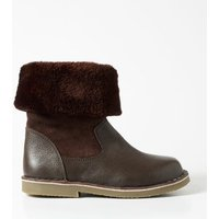 Cosy Leather Boots Brown Girls Boden, Brown
