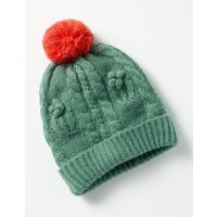 Cable Beanie Hat Green Girls Boden, Green