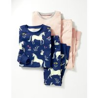 Twin Pack Cosy Long Johns Navy Girls Boden, Navy