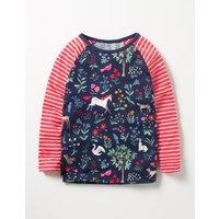 Hotchpotch Raglan T-shirt School Navy Enchanted Meadow Girls Boden, Navy