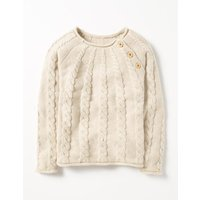 Chunky Knit Jumper Ivory Girls Boden, Ivory