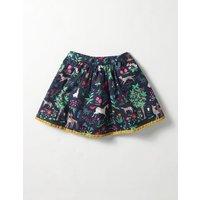Pretty Printed Skirt School Navy Tapestry Girls Boden, Navy