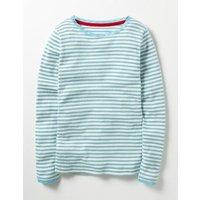 Sparkly Pointelle T-shirt Blue Girls Boden, Blue