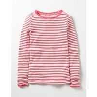 Sparkly Pointelle T-shirt Pink Girls Boden, Pink