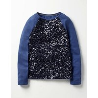 Sequin Raglan T-shirt Navy Girls Boden, Navy