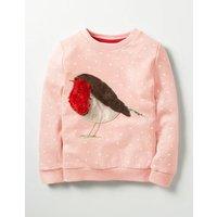 Fluffy Friends Sweatshirt Pink Girls Boden, Pink