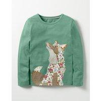 Woodland Patchwork T-shirt Green Girls Boden, Green
