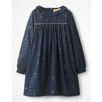 Ruffle Collared Dress Navy Girls Boden, Navy