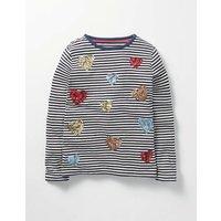 Sequin Festive T-shirt Navy Girls Boden, Navy