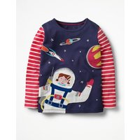 Space Girl T-shirt Navy Girls Boden, Navy