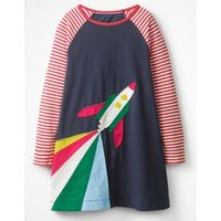 Rocket Applique Dress Navy Girls Boden, Navy