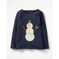 Festive Graphic T-shirt Navy Girls Boden, Navy