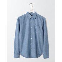 Linen Cotton Shirt Washed Navy Men Boden, Blue