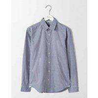 Slim Fit Poplin Pattern Shirt Navy Microgingham Men Boden, Navy
