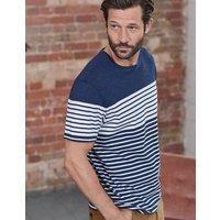 Washed Stripe T-shirt Navy Marl Engineered Stripe Men Boden, Navy