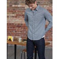 Printed Twill Shirt Blue Men Boden, Blue