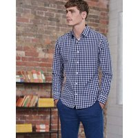 Slim Fit Poplin Pattern Shirt Blue Men Boden, Blue