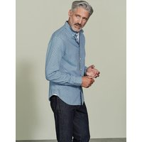 Slim Fit Printed Indigo Shirt Washed Indigo Geo Men Boden, Blue