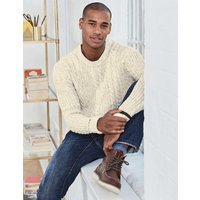 Bamburgh Cable Crew Ivory Men Boden, Ivory