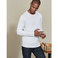 Long Sleeve Washed T-shirt White Men Boden, White