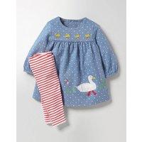 Appliqué Dress & Leggings Set Wren Blue Pin Spot Baby Boden, Blue