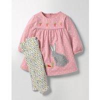 Appliqué Dress & Leggings Set Almond Blossom Pink Pin Spot Baby Boden, Pink