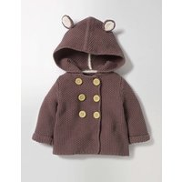 Wild Animal Knitted Jacket Rhino Grey Marl Baby Boden, Brown
