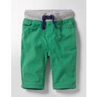 Rib Waist Trousers Green Baby Boden, Green