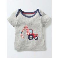 Vehicle Appliqu T-Shirt Grey Marl/Digger Baby Boden, Grey