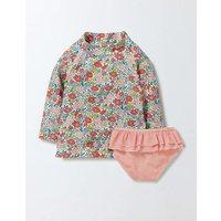 Baby Rash Vest & Pant Set Peach Sorbet Mini Flower Bed Baby Boden, Pink