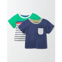 Summer Twin Pack T-shirt Dusky Blue/Stripe Pack Baby Boden, Blue
