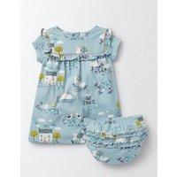 Pretty Printed Jersey Dress Blue Baby Boden, Blue